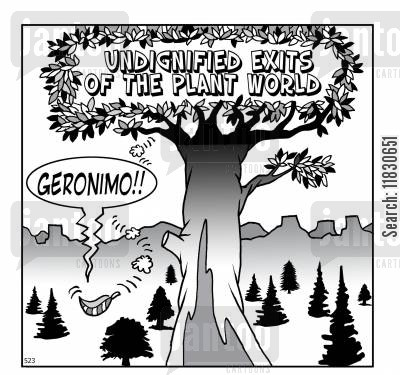 fauna cartoon humor: Undignified Exits of the Planet World: Geronimo!