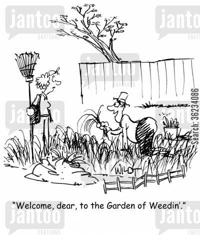 suburbs cartoon humor: Welcome,dear, to the Garden of Weedin.