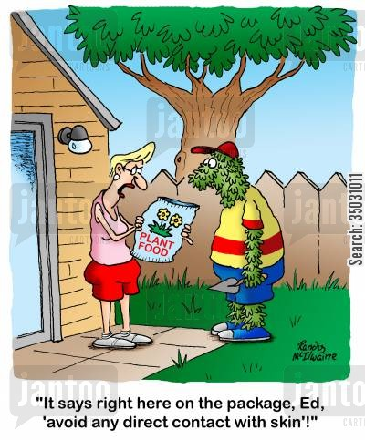 backyards cartoon humor: 'It says right here on the package, Ed, 'avoid any direct contact with skin'!'