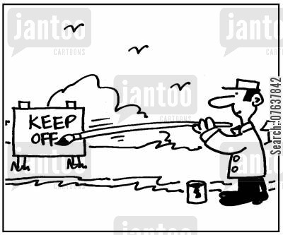 groundsmen cartoon humor: Sign, Keep off.