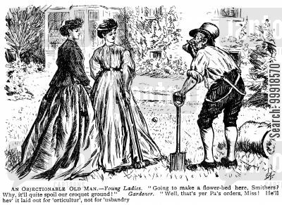 garden cartoon humor: Gardener digging a flower bed over the croquet lawn.