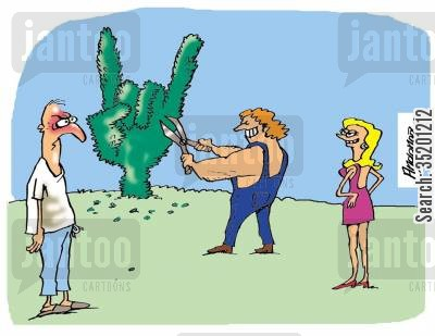 rock musician cartoon humor: Gardener Cutting Tree into 'Rock' Symbol.