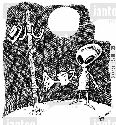 flora cartoon humor: Alien watering hat stand