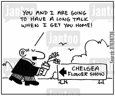 garden competitions cartoon humor: 'You and I are going to have a long talk when I get you home.'