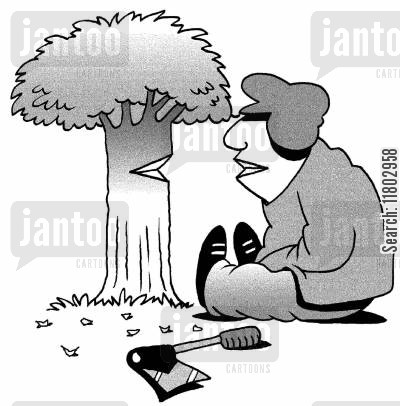imaginary friend cartoon humor: Man talking to a tree.