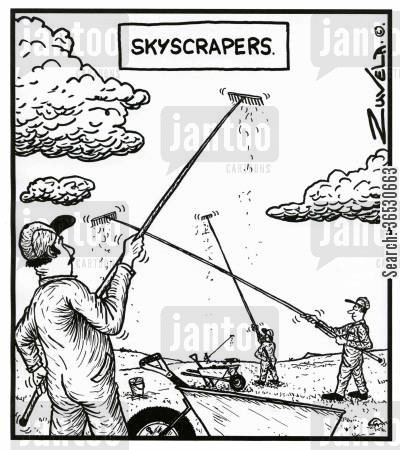 sky scraper cartoon humor: Skyscrapers.