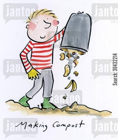 compost cartoon humor: Making compost.