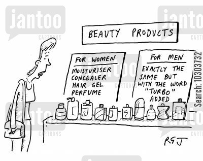 concealer cartoon humor: Beauty Products - for women, and for men (exactly the same, but with turbo added).