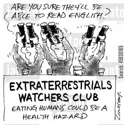 speaking english cartoon humor: Extraterrestrials Watchers Club.