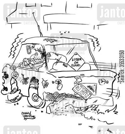 car signs cartoon humor: 'Loser on Board'