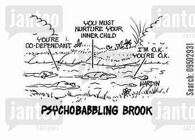 brook cartoon humor: Psychobabbling brook.