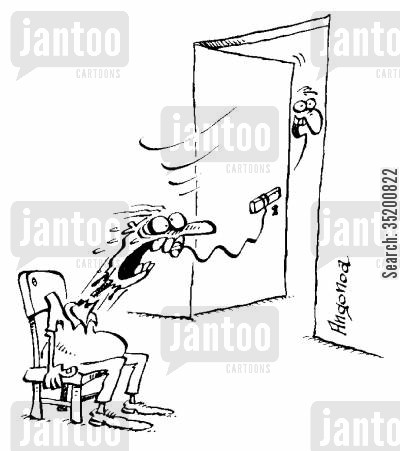 toothache cartoon humor: Man trying to lose a tooth via tying it to a door knob loses whole head