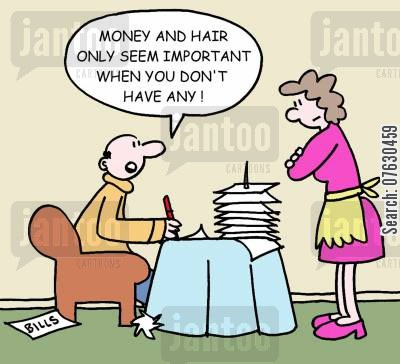 no money cartoon humor: Money and hair only seem important when you don't have any!