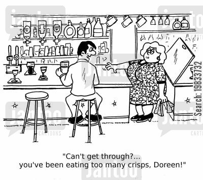 bar snacks cartoon humor: 'Can't get through?... you've been eating too many crisps, Doreen!'