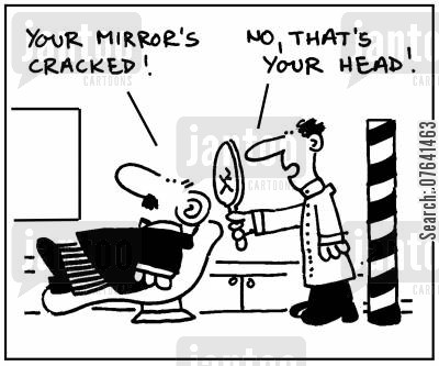 head injury cartoon humor: 'Your mirror's cracked.' - 'No, that's your head.'