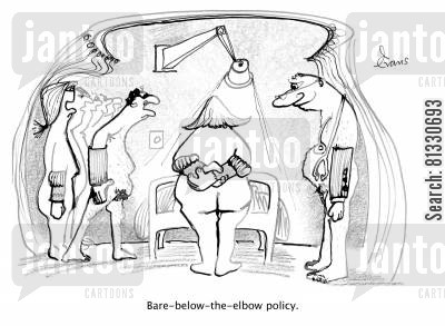 blankets cartoon humor: A drawing illustrating 'bare-below-elbow' policy.
