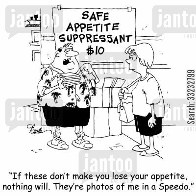 appetite suppressant cartoon humor: 'If these don't make you lose your appetite, nothing will. They're photos of me in a Speedo.'