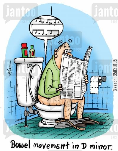 bowel movement cartoon humor: Bowel movement in D minor.