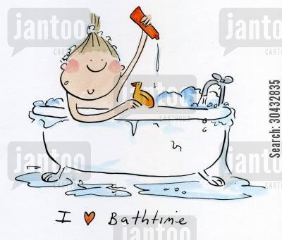 bathes cartoon humor: I love bathtime.