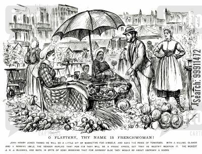 vegetables cartoon humor: Man flattered into buying by a frenchwoman