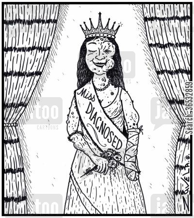 ugly woman cartoon humor: Miss Diagnosed a female pageant winner for being the worst misdiagnosed entrant.
