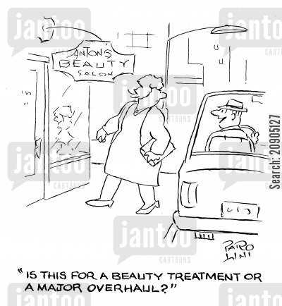 beauty parlours cartoon humor: 'Is this for a beauty treatment or a major overhaul?'