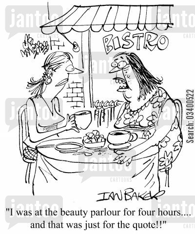 beauty parlours cartoon humor: I was at the beauty parlour for four hours...and that was just for the quote!