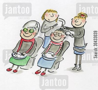 beauty parlours cartoon humor: Being Pampered.