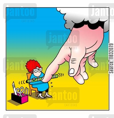 beauty therapists cartoon humor: God's Manicure.