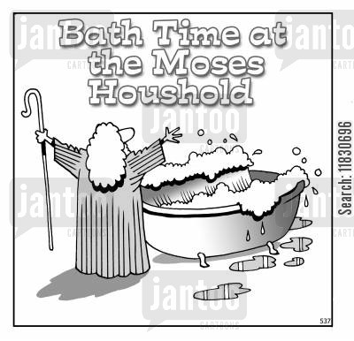 parting red sea cartoon humor: Bathtime at the Moses Household.