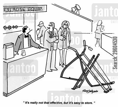 exercises cartoon humor: 'It's really not that effective, but it's easy to store.'