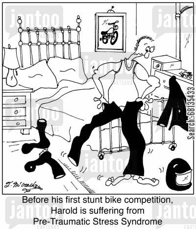 post traumatic stress cartoon humor: Before his first stunt bike competition, Harold is suffering from Pre-Traumatic Stress Syndrome.