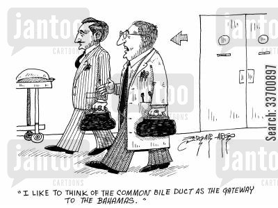 bahamas cartoon humor: 'I like to think of the common bile duct as the gateway to the Bahamas.