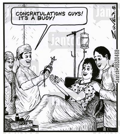 new parent cartoon humor: 'Congratulations guys! It's a Buoy!'