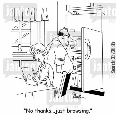 browser cartoon humor: 'No thanks...just browsing.'
