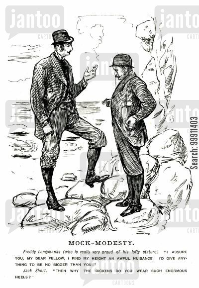 stature cartoon humor: Tall man wearing high heeled boots talking to a short man