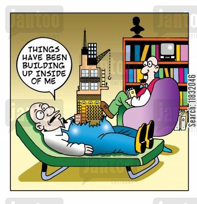 stress build up cartoon humor: Things have been building up inside of me.