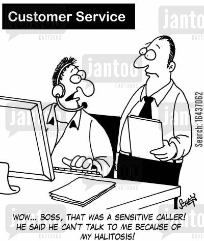 halitosis cartoon humor: 'Wow... boss, that was a pretty sensitive caller! He said he can't talk to me because of my halitosis!'