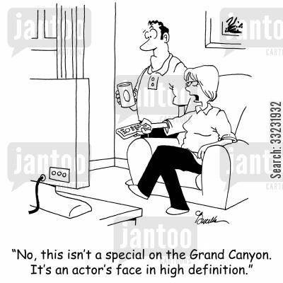 canyons cartoon humor: 'No, it's not a special on the Grand Canyon. It's an actor's face in high definition.'