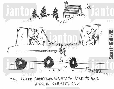 anger counsellor cartoon humor: 'My anger counselor wants to talk to your anger counselor.'