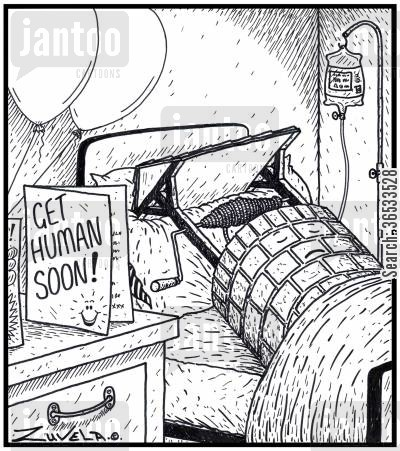 recover cartoon humor: Card: Get Human Soon!