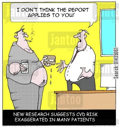 exaggerated risks cartoon humor: 'I don't think the report applies to you.'