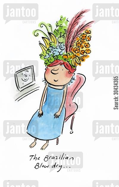 fruit hats cartoon humor: The Brazilian Blow dry