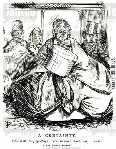 crinolines cartoon humor: Huge lady lady sitting down on a crowded bus
