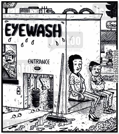 optical cartoon humor: Eyewash.