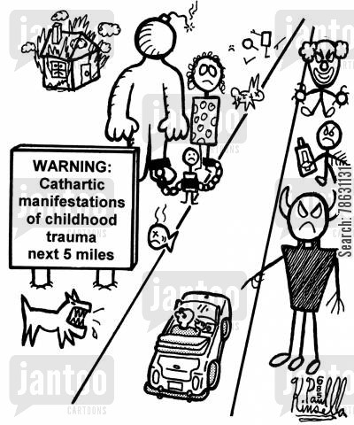 cathartic cartoon humor: Warning: Cathartic manifestations of childhood trauma next 5 miles