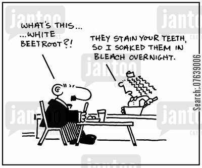 canteen food cartoon humor: 'What's this...white beetroot? They stain your teeth, so I soaked them in bleach overnight.'