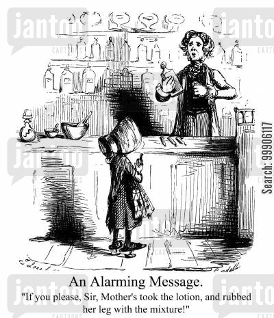 bottles cartoon humor: A Victorian pharmacist.