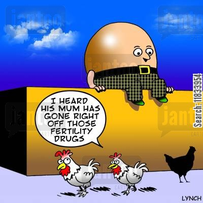 hen houses cartoon humor: 'I hear his mum has gone right off those Fertility drugs.'