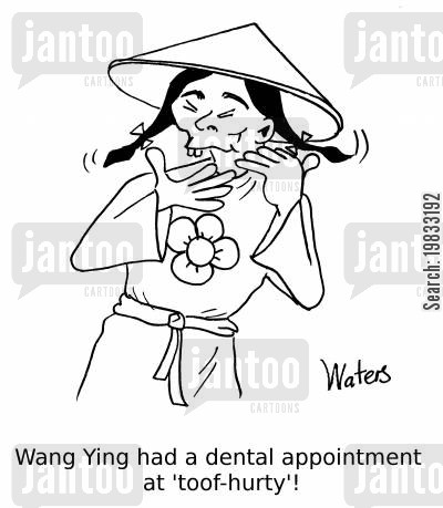 toothache cartoon humor: Wang Ying had a dental appointment at 'toof-hurty'!